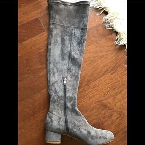 Anthropologie gray suede over-the-knee boots